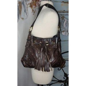 90725c797ba4 BULGA Hobo leather bag with brass details